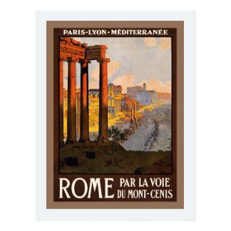 Vintage train ad Paris Lyon Mediterranée to Rome Postcard