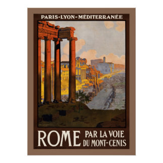 Vintage train ad Paris Lyon Mediterranée to Rome Poster