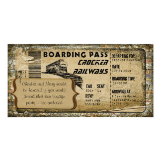 Vintage Train Boarding Pass Card