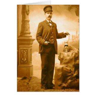 Vintage Train Conductor Blank Card