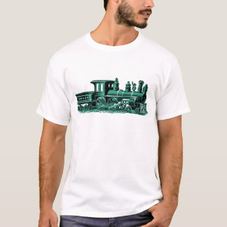Vintage Train in Green T-Shirt