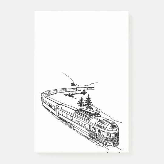 Vintage Train in Mountains Illustration Post-it Notes