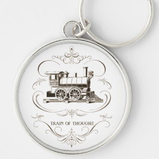 Vintage Train of Thought Silver-Colored Round Keychain