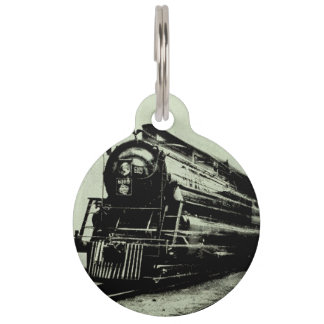 Vintage Train Photo in Motion with Blur Pet Name Tag