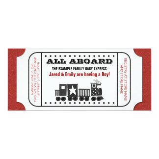 Vintage Train Ticket Baby Shower Invitation