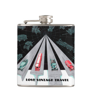 Vintage Train & Vehicles Ad Blue Black Red Hip Flask
