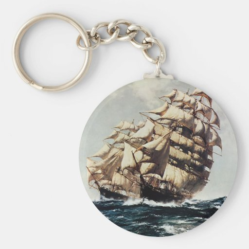 Vintage Transporation Clipper Ship in Rough Seas Key Chains