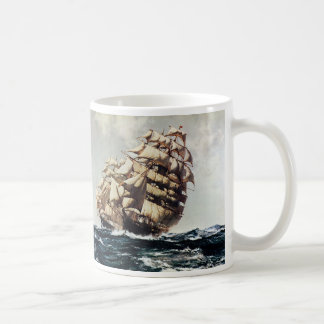 Vintage Transporation, Clipper Ships in Rough Seas Coffee Mug