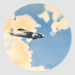 Vintage Transportation, Airplane Flying in Clouds Round Sticker
