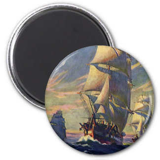 Vintage Transportation, Clipper Ships at Sea 2 Inch Round Magnet