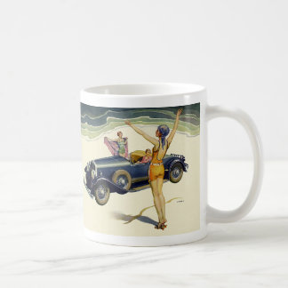 Vintage Transportation Convertible Car on Beach Coffee Mug
