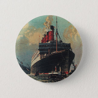 Vintage Transportation Passenger Ship in Harbor 2 Inch Round Button