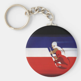 Vintage Transportation, Patriotic Racers Race Cars Basic Round Button Keychain