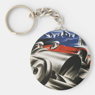 Vintage Transportation, Sports Race Racing Cars Basic Round Button Keychain