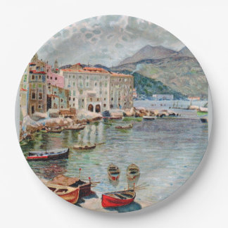 Vintage Travel 1920's Menton, French Riviera Paper Plate