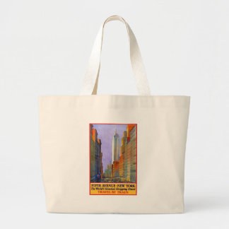 Vintage Travel 5th Avenue New York Large Tote Bag