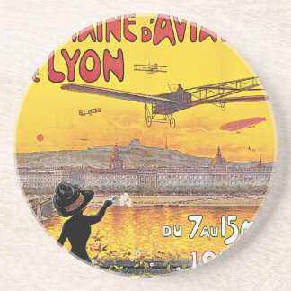 Vintage Travel, Airplanes Air Show, Lyon, France Coaster