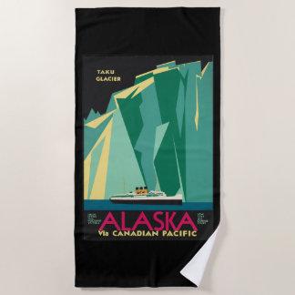 Vintage Travel Alaska Taku Glacier Cruise Ship Beach Towel