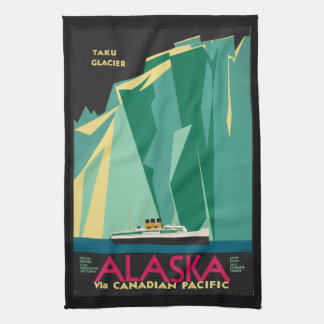 Vintage Travel Alaska Taku Glacier Cruise Ship Kitchen Towel