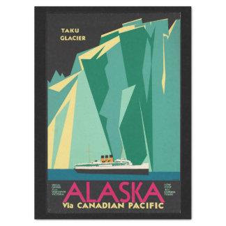 Vintage Travel Alaska Taku Glacier Cruise Ship Tissue Paper