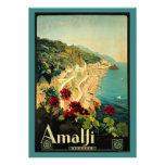 Vintage Travel, Amalfi Italian Coast Beach Custom Invitations