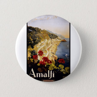 Vintage Travel Amalfi Italy 2 Inch Round Button