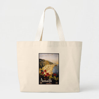 Vintage Travel Amalfi Italy Large Tote Bag