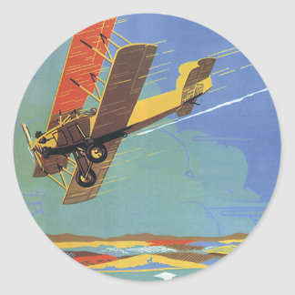 Vintage Travel and Transportation Antique Airplane Round Sticker