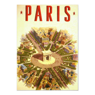 Vintage Travel, Arc de Triomphe Paris Invitation