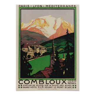 Vintage Travel Art Deco Poster Combloux, France