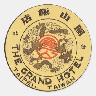 Vintage Travel Asia, Grand Hotel, Taipei, Taiwan Round Sticker