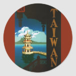 Vintage Travel Asia, Taiwan Pagoda Tiered Tower Classic Round Sticker