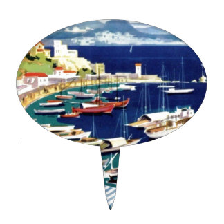 Vintage Travel Athens Greece Cake Toppers