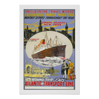 Vintage travel,Atlantic Transport Line Poster
