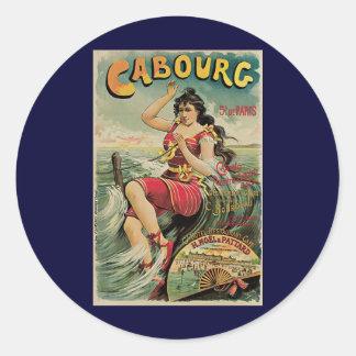 Vintage Travel, Beach Resort, Cabourg France Classic Round Sticker