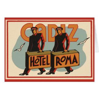 Vintage Travel Bellhops Hotel Roma, Cadiz, Spain Card