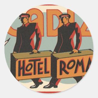 Vintage Travel Bellhops Hotel Roma, Cadiz, Spain Round Sticker