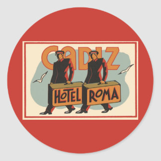 Vintage Travel Bellhops Hotel Roma, Cadiz, Spain Stickers