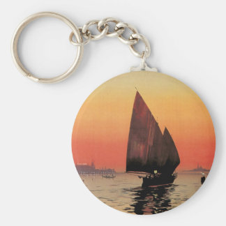 Vintage Travel, Boats at Excelsior Palace Venice Basic Round Button Keychain