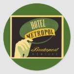 Vintage Travel Budapest Hungary Bellhop Hat Sticker