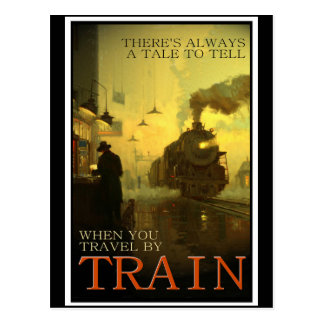 Vintage Travel By Train Postcard