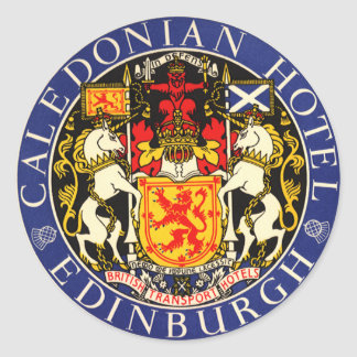 Vintage Travel Caledonian Hotel Edinburgh Scotland Classic Round Sticker