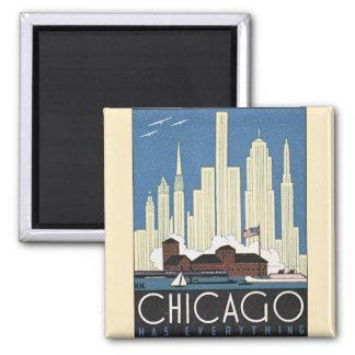 Vintage Travel Chicago Illinois Skyscraper Skyline Square Magnet