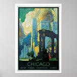 Vintage Travel Chicago New York Central Lines Poster