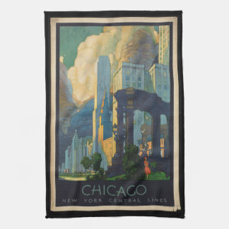 Vintage Travel Chicago to New York Central Lines Kitchen Towel