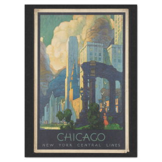 Vintage Travel Chicago to New York Central Lines Tissue Paper