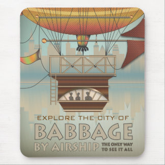 Vintage Travel City of Babbage Airship Mouse Pad
