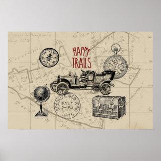 Vintage Travel Collage, Antique Car Road Trip Print