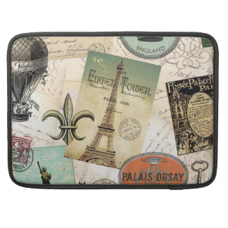 Vintage Travel collage macbook sleeve