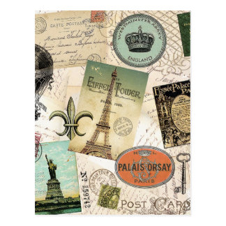 Vintage Travel collage postcard